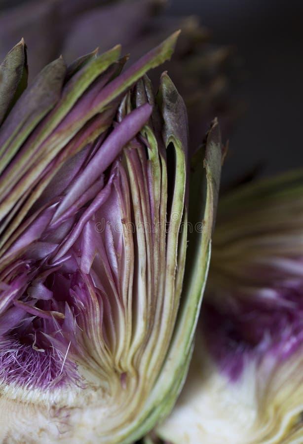 Alcachofra cortada dentro parcialmente imagem de stock