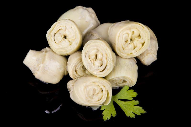 Alcachofra-e-azeitona-óleo fotografia de stock
