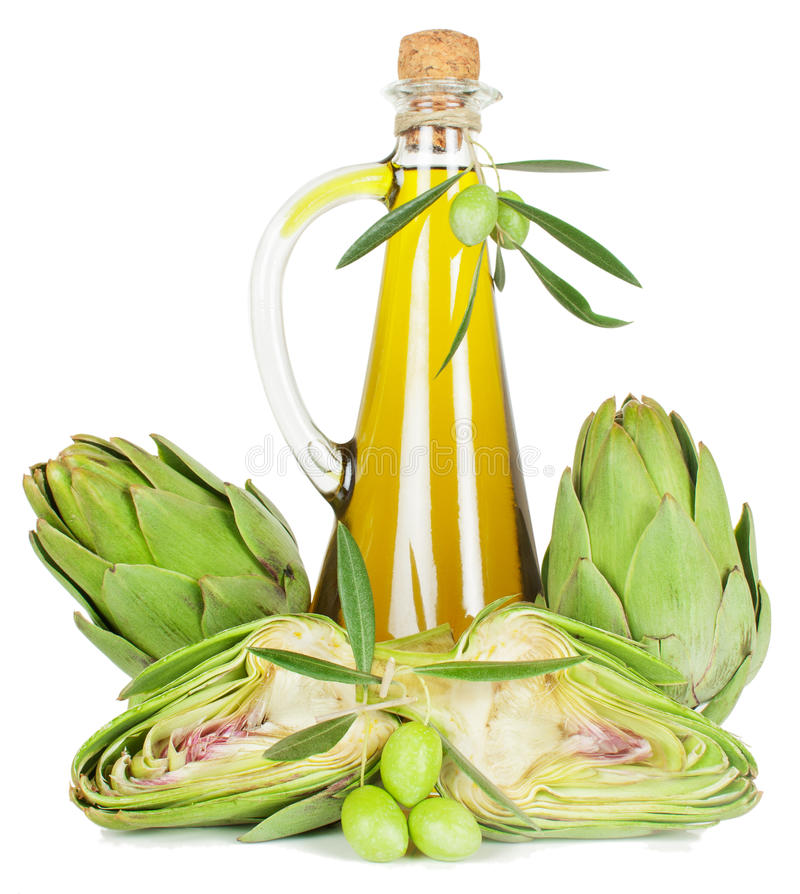 Alcachofra e petróleo verde-oliva imagem de stock