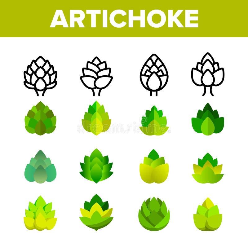 Alcachofra, grupo linear dos ícones do vetor gourmet da culinária ilustração stock