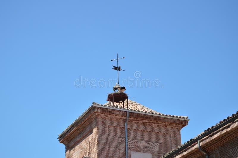 Alcala De Henares Nós pode apreciar os telhados e as torres de sino de suas construções centenárias com suas cegonhas aninhadas b foto de stock