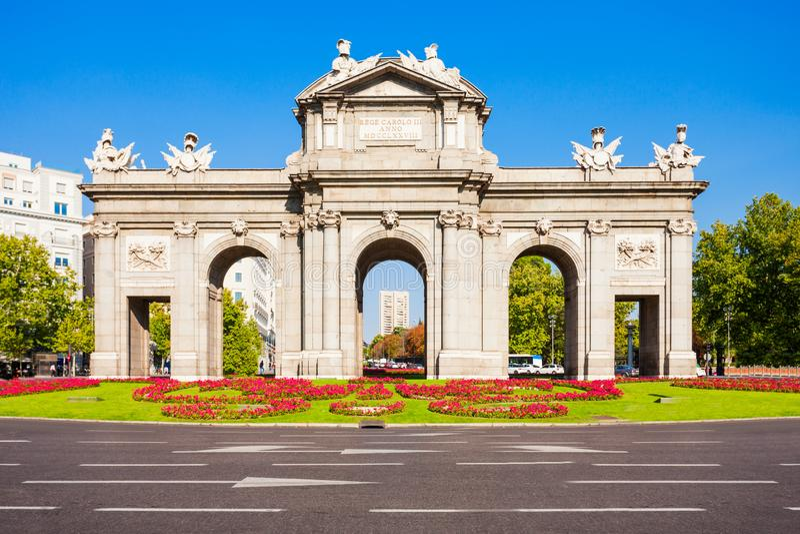 Alcala Gate in Madrid, capital of Spain stock photos