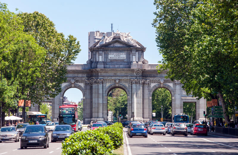 Alcala gate - Monument in the Independence Square in Madrid, Spain royalty free stock images