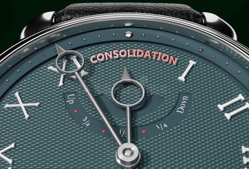 Alcançar a Consolidação, aproximar-se da Consolidação ou torná-la mais próxima ou chegar mais cedo - um relógio simbolizando pouc ilustração do vetor