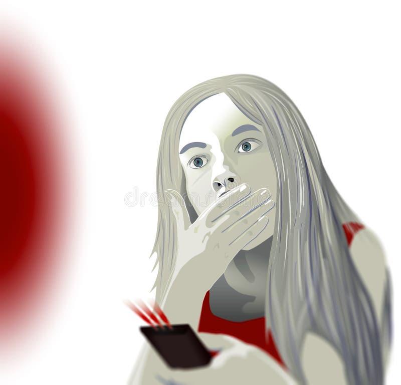 Alcance ao índice impróprio para menores, menina da televisão que olha a tevê ilustração stock