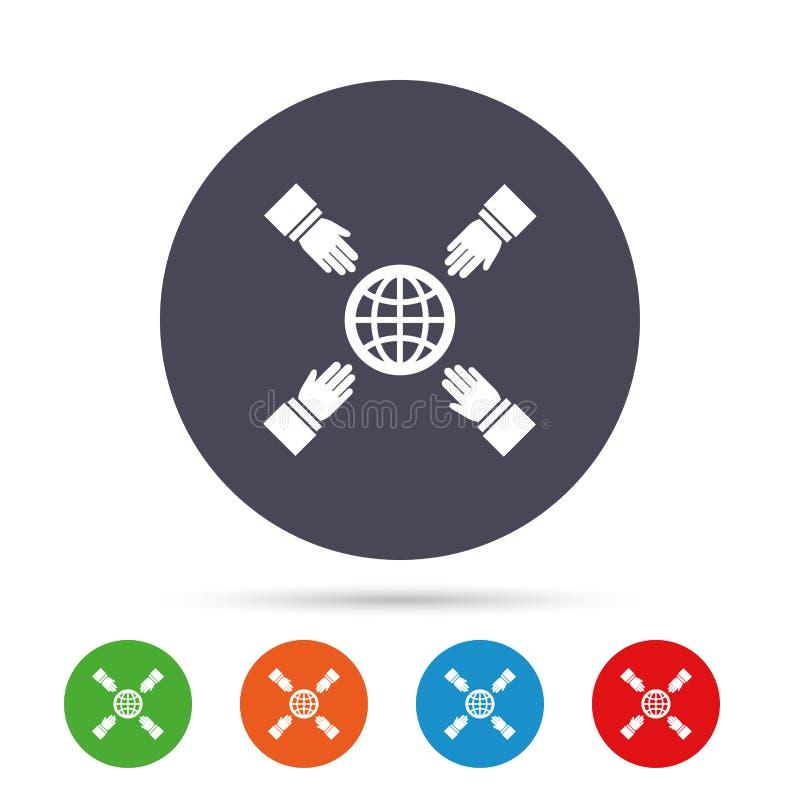 Alcance das mãos para o ícone do sinal da terra Excepto o planeta ilustração stock