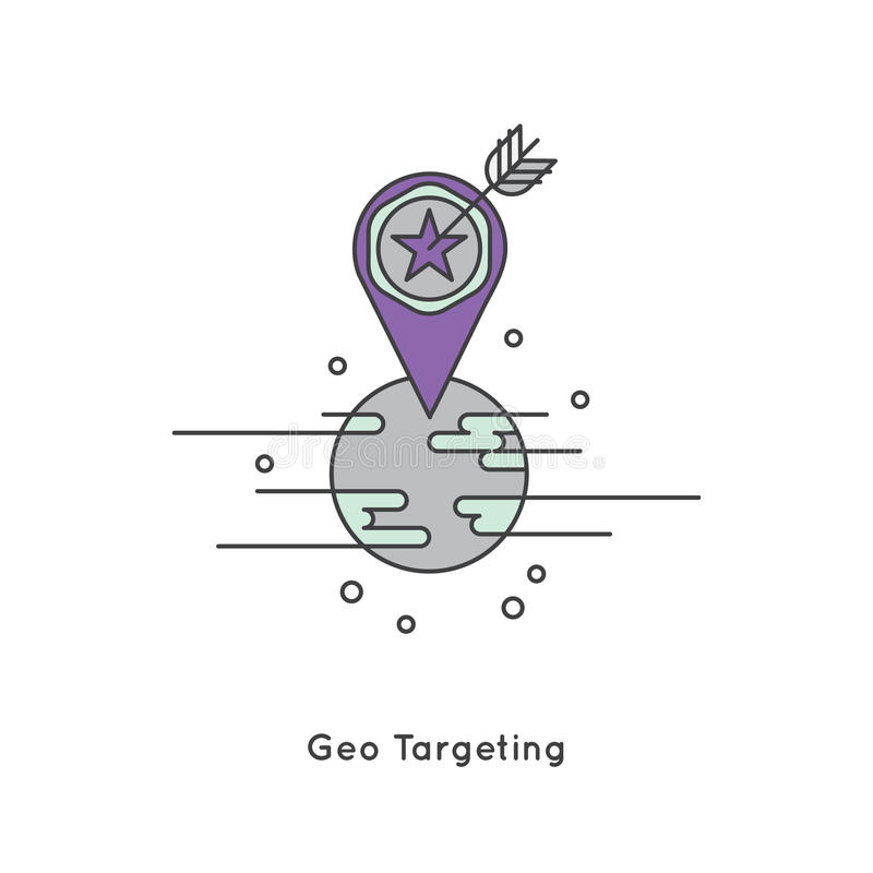 Alcance de Geo, márketing de la mercadotecnia geográfica y de Internet libre illustration