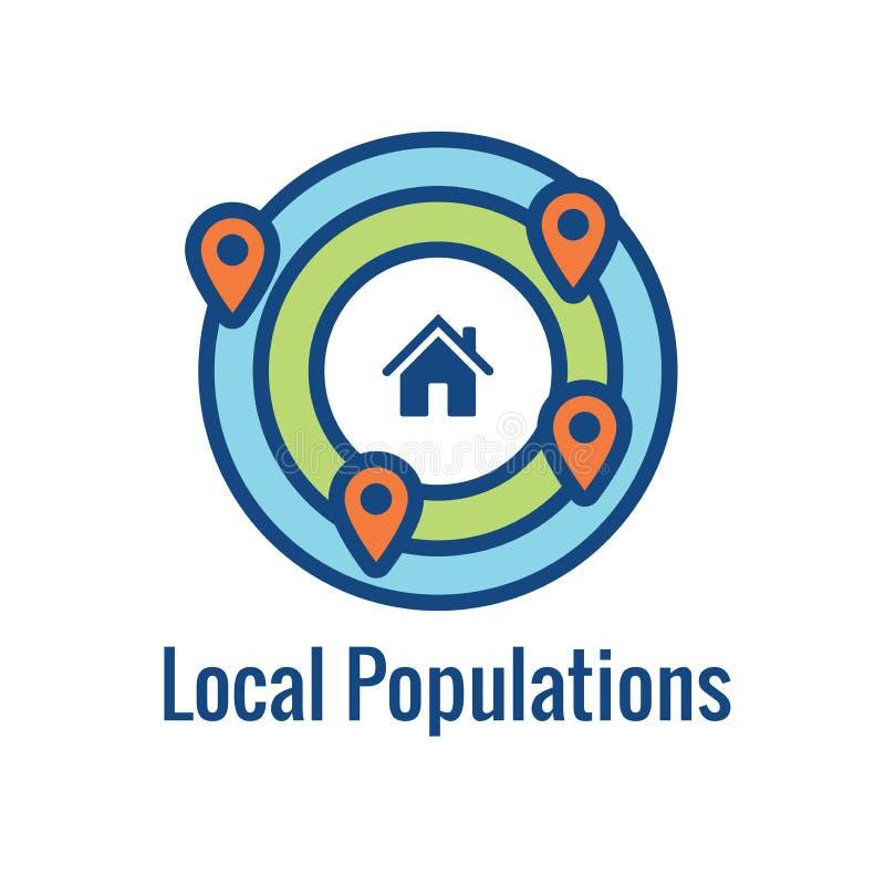 Alcance de la ubicación de Geo - colocación de GPS e icono de Geolocation stock de ilustración