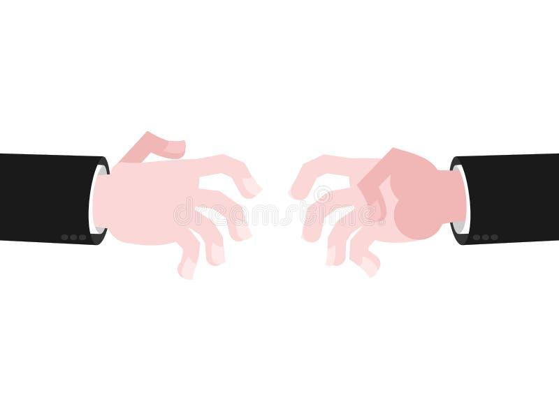 Alcance de las manos del negocio para el apretón de manos Alcance hacia fuera ilustración del vector