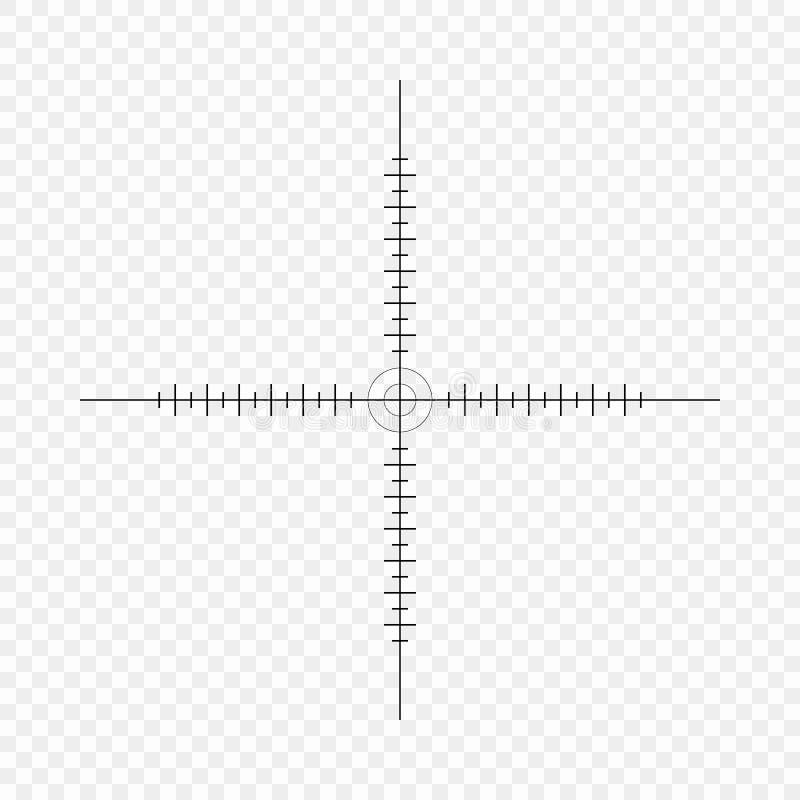 Alcance del francotirador, escala Retículos con las marcas de la señal icono Concepto del vector de búsqueda de la blanco Element stock de ilustración