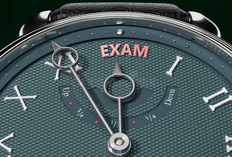 Alcance Exam, aproxime-se do exame ou faça-o mais próximo ou alcance mais cedo - um relógio simbolizando pouco tempo entre agora  ilustração do vetor