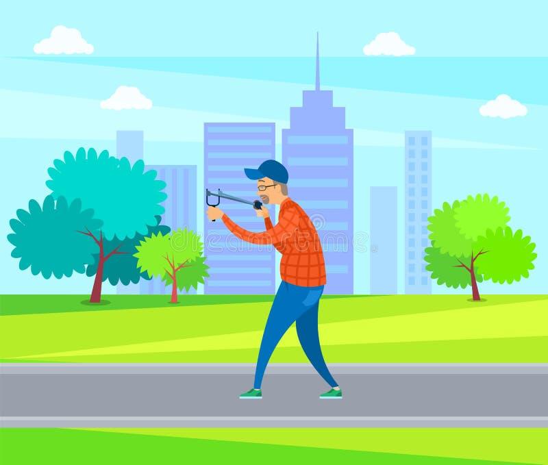 Alcance masculino envejecido con la catapulta en vector del parque ilustración del vector