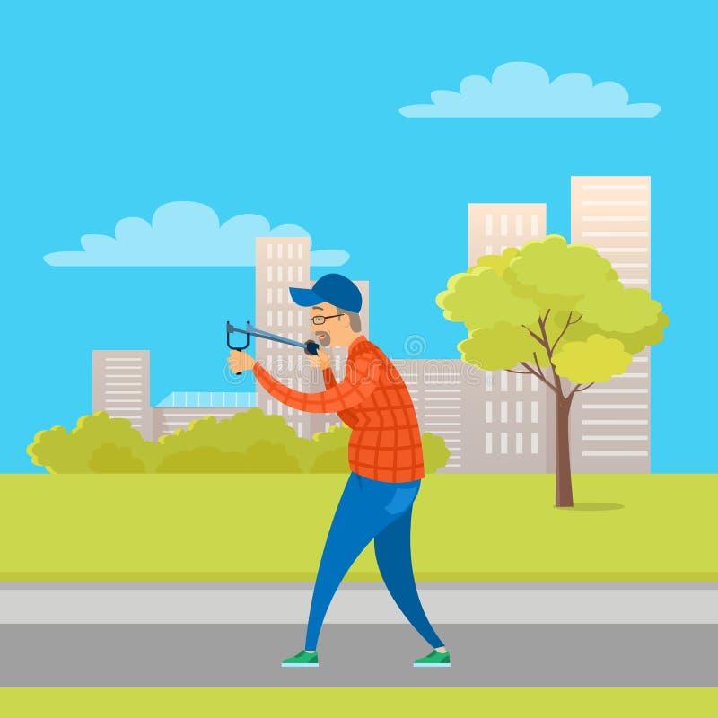 Alcance masculino envejecido con la catapulta en vector del parque stock de ilustración