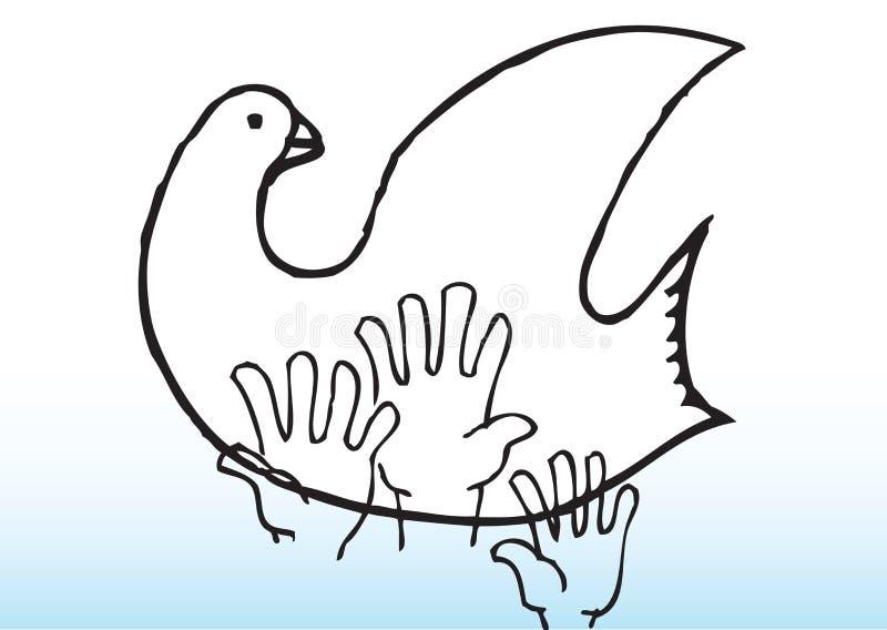 Alcance para la paloma de la paz stock de ilustración