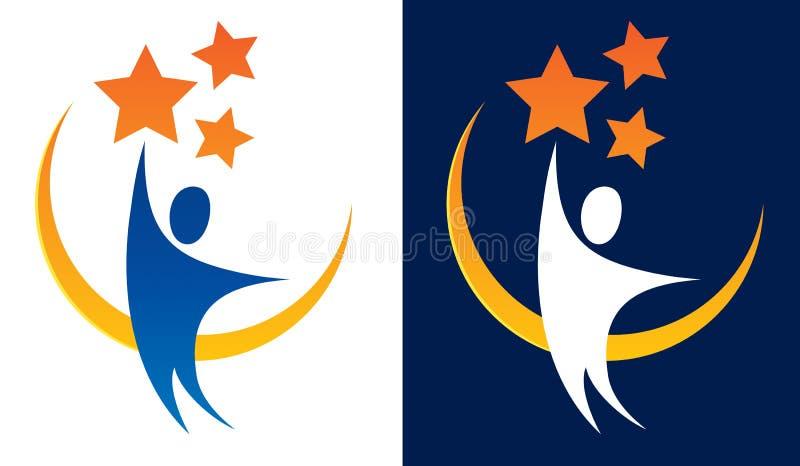 Alcance para o logotipo das estrelas ilustração stock