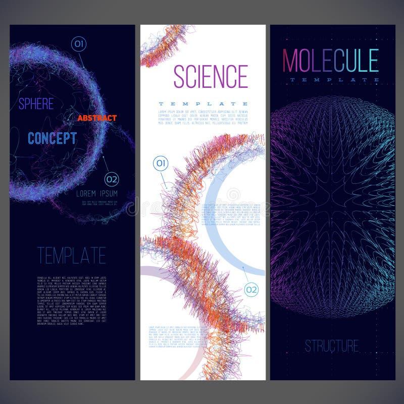 Alcance que consiste en las líneas de diverso color, moléculas, virus ilustración del vector