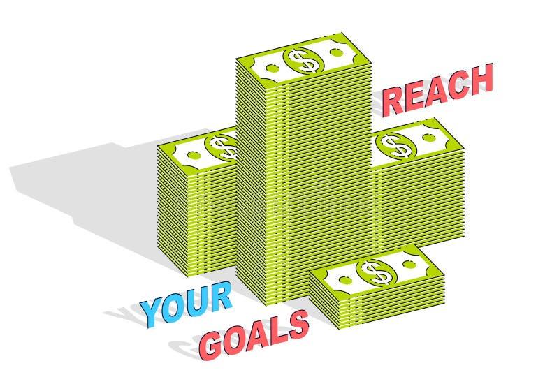 Alcance sua cartaz da motivação do negócio dos objetivos ou bandeira, mone do dinheiro ilustração royalty free