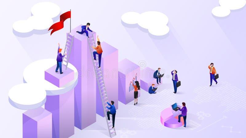 Alcanzar alto concepto financiero del vector de los indicadores libre illustration
