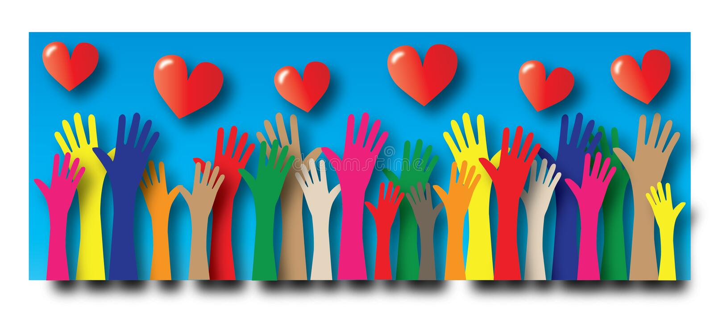 Alcanzar diversidad del amor de la libertad de las manos libre illustration