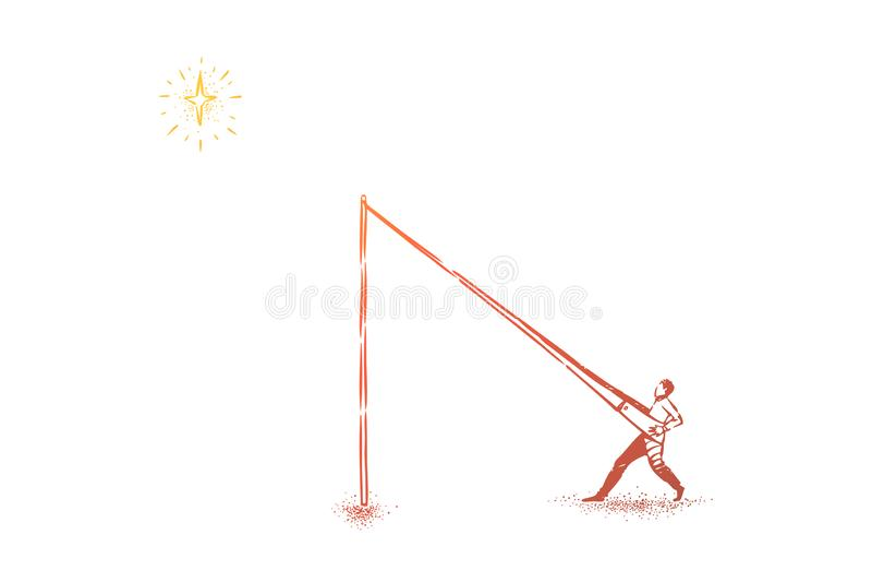 Alcanzar las estrellas metáfora, hombre en la catapulta que se empuja en cielo stock de ilustración