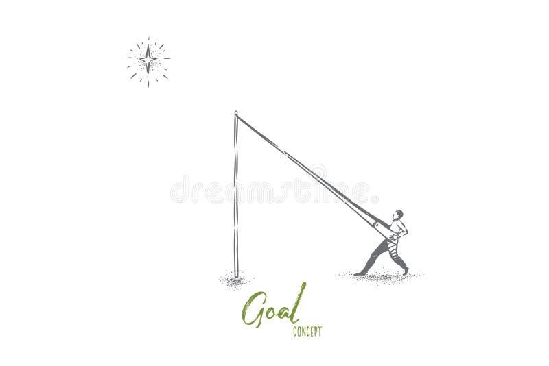Alcanzar las estrellas metáfora, hombre en la catapulta que se empuja en cielo ilustración del vector