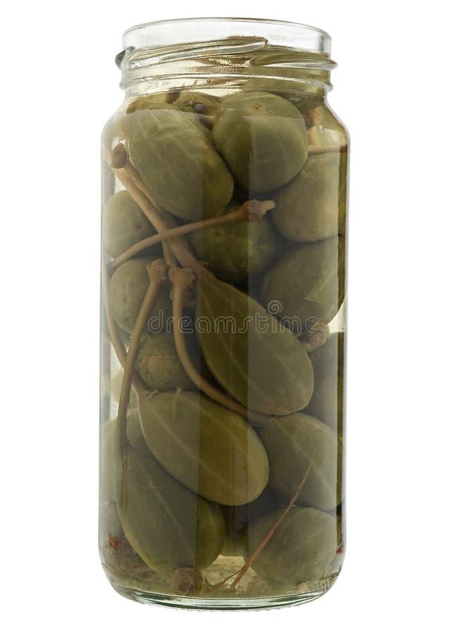 Alcaparra preservada no frasco. imagem de stock royalty free