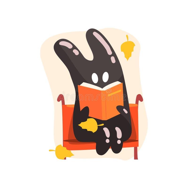 Alcatrão preto Jelly Rabbit Shape Monster Reading que um livro no banco sob o amarelo de queda deixa fora em Autumn Season ilustração do vetor