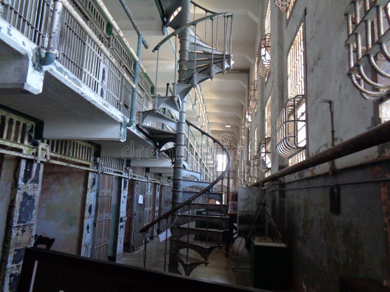 Alcatraz在监狱里面的圣Fransico 免版税库存照片