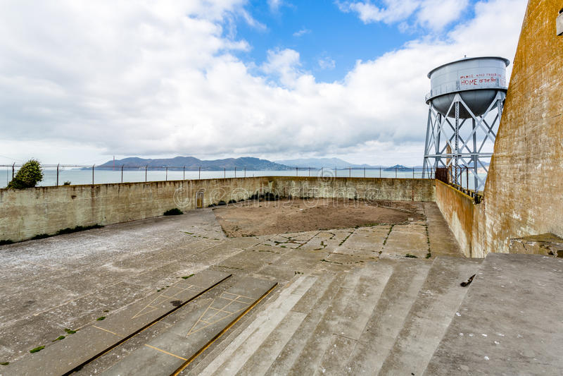 Alcatraz övningsgård arkivfoton