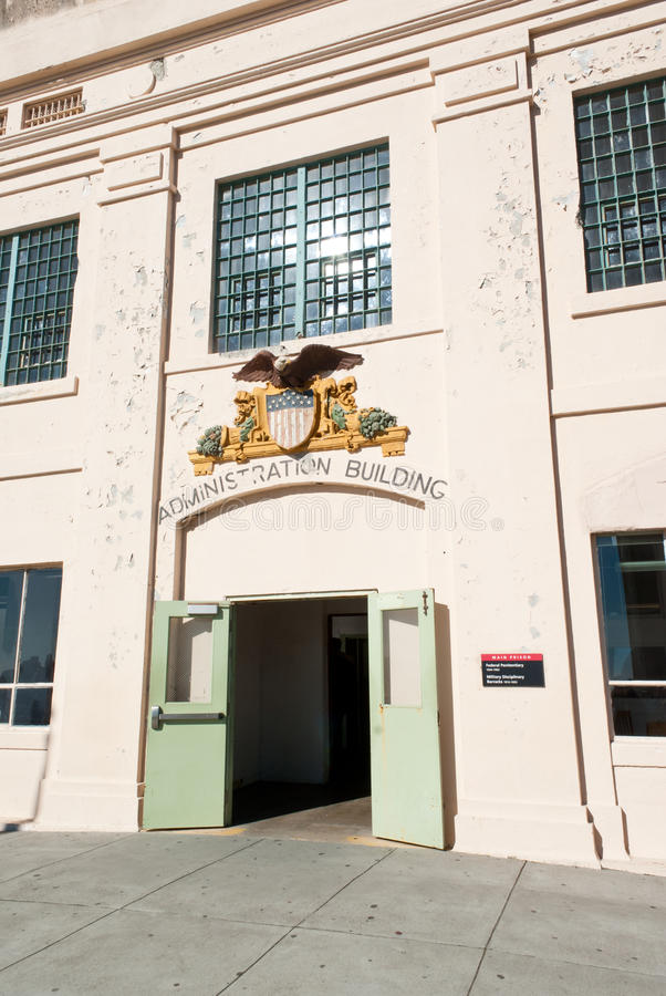 Alcatraz Administration Building. Main entrance at the administration building of the Alcatraz penitentiary stock photography