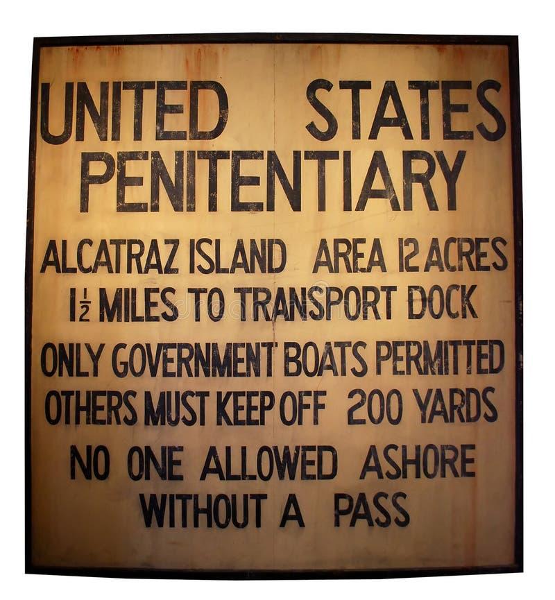 Alcatraz Gefängniszeichen lizenzfreie stockfotos
