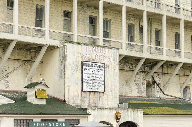 Alcatraz-Inselzeichen, San Francisco, Kalifornien stockbild