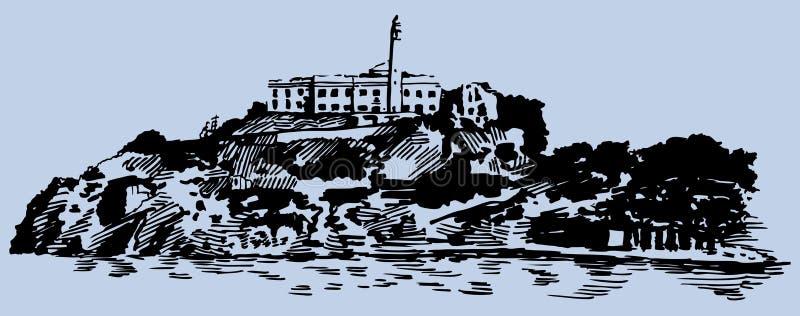 Alcatraz Island vector illustration