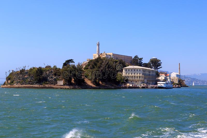 Back of Alcatraz island. Alcatraz island, the famous prison near San Francisco, as seen from the rear stock photography