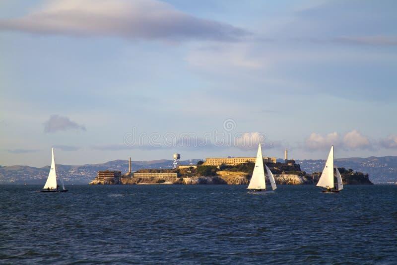 Alcatraz Island Prison in San Francisco Bay royalty free stock image