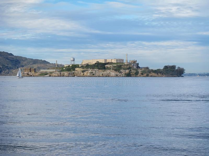 Alcatraz Island and Prison in San Francisco Bay stock images