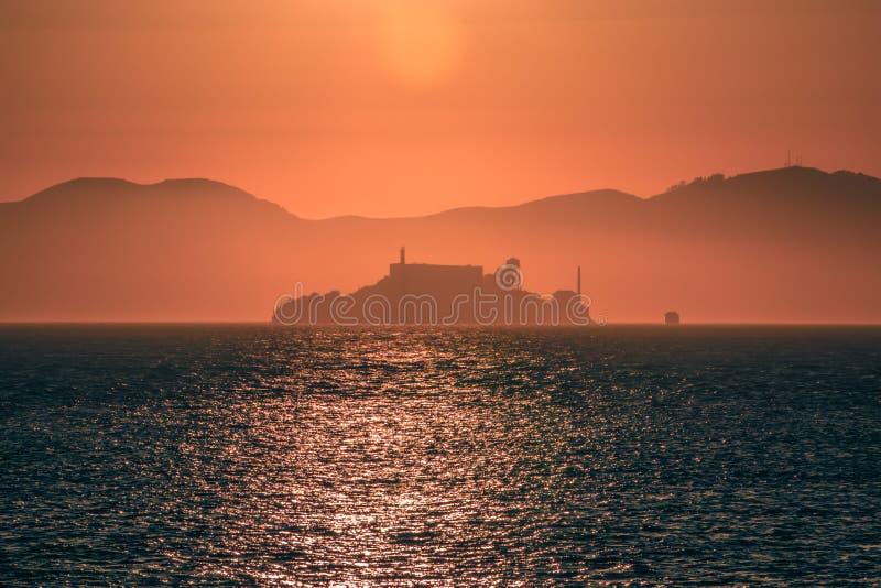 Alcatraz island prison San Francisco bay at sunset stock photography