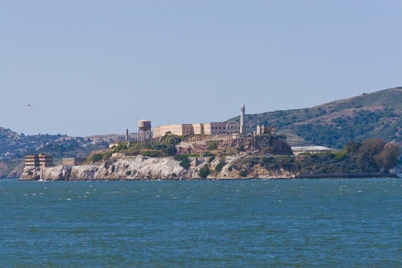 Alcatraz island in San Francisco bay, California with former prison ruins stock photos