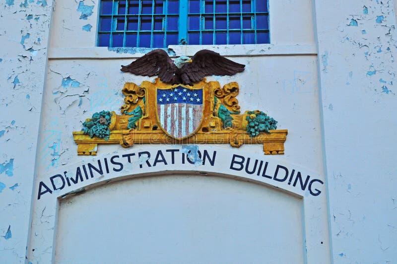 Alcatraz Island, prison, sign, Administration Building, San Francisco, California, United States of America, Usa. The Administration Building on June 13, 2010 stock photo