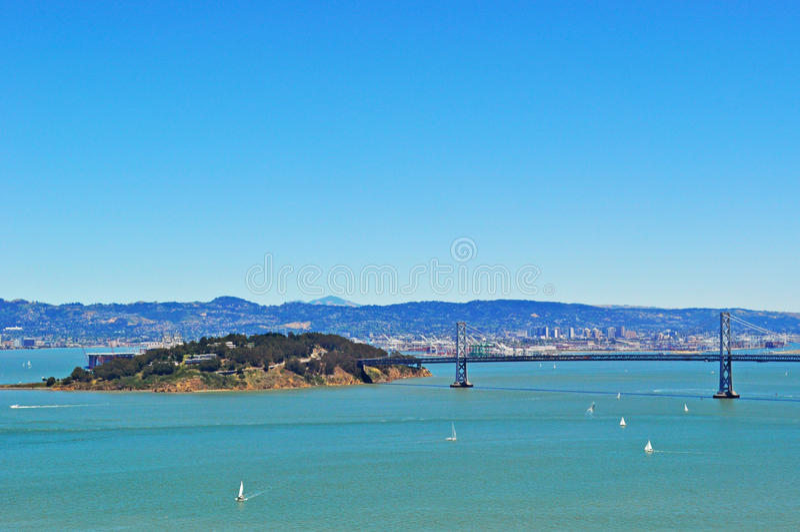 Alcatraz Island, prison, bay, San Francisco, California, United States of America, Usa, sunset, Pacific Ocean, Golden Gate, bridge. Alcatraz island in the San stock image