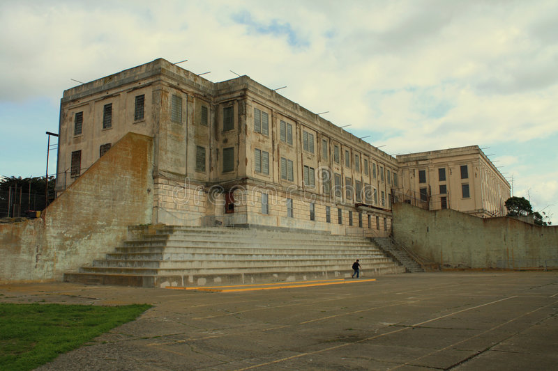 Alcatraz prision yard and building royalty free stock image