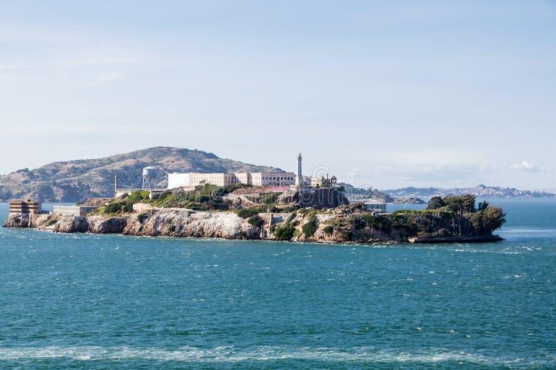 Alcatraz Prison and Island. The prison and island of Alcatraz in San Francisco Bay stock images