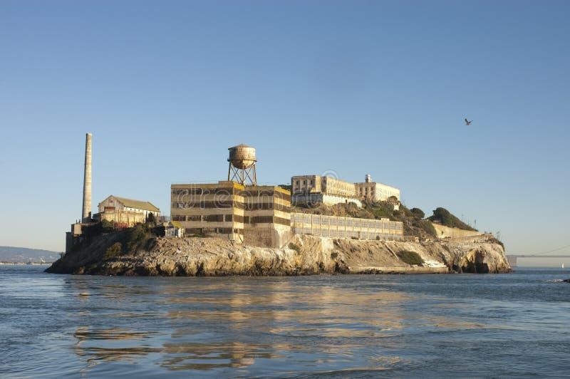 Alcatraz at sunset stock images