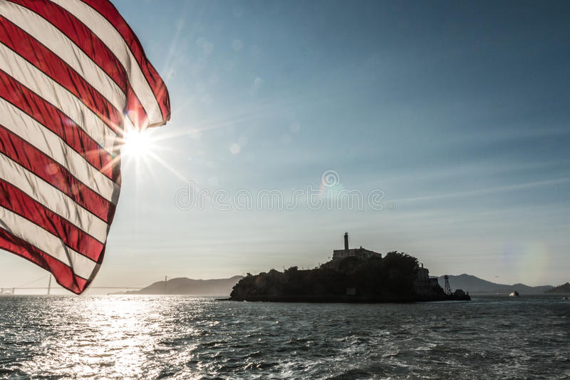 Alcatraz view vith flag of america royalty free stock photo