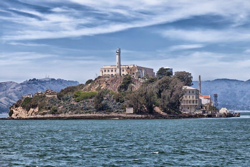 Alcatraz wyspa od wody fotografia stock