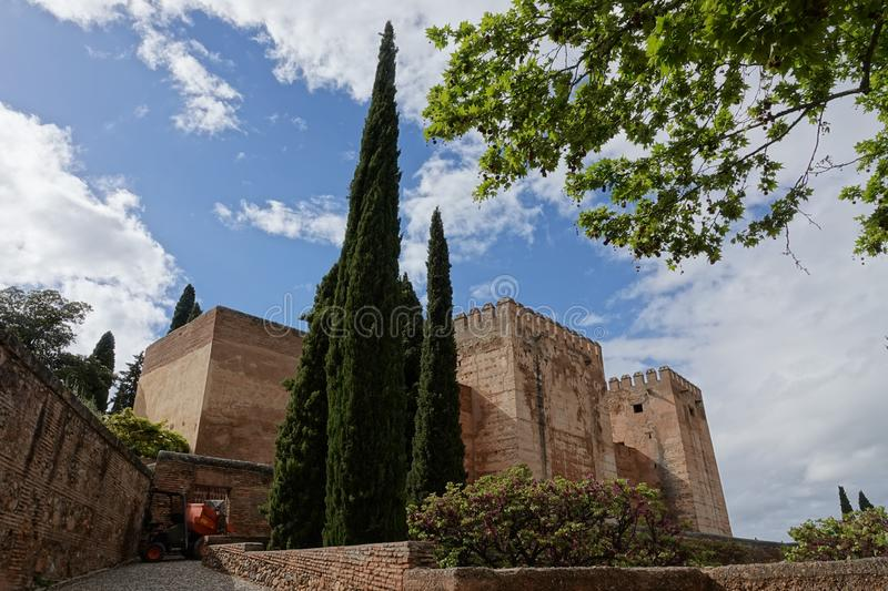 The Alcazaba of Alhambra in Granada, Andalusia. The moorish complex Alhambra is located on top of the hill al-Sabika, on the left bank of the river Darro, to the stock photography