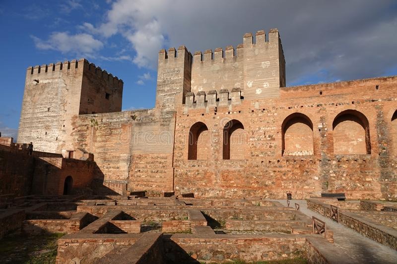 The Alcazaba of Alhambra in Granada, Andalusia. The Alcazaba in the Alhambra in Granada is the oldest part of the fort. It was built in the 13th century for the stock images