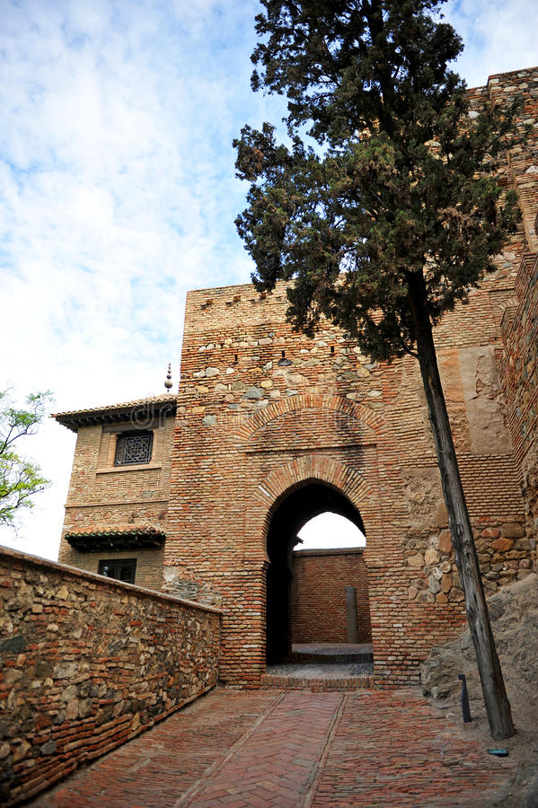 Alcazaba, arabic ramparts of Malaga, Andalucia, Spain royalty free stock image