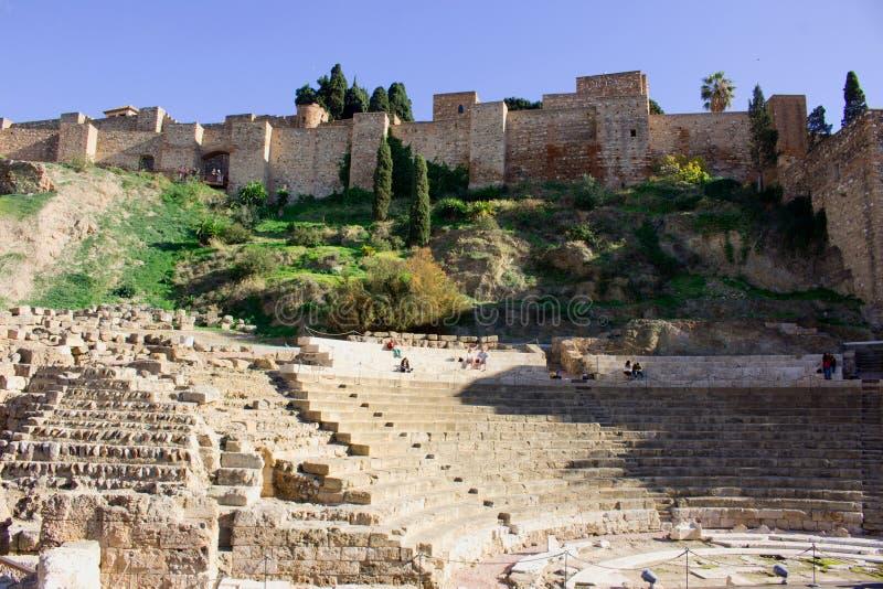 Alcazaba av MÃ-¡ lagaen arkivbild