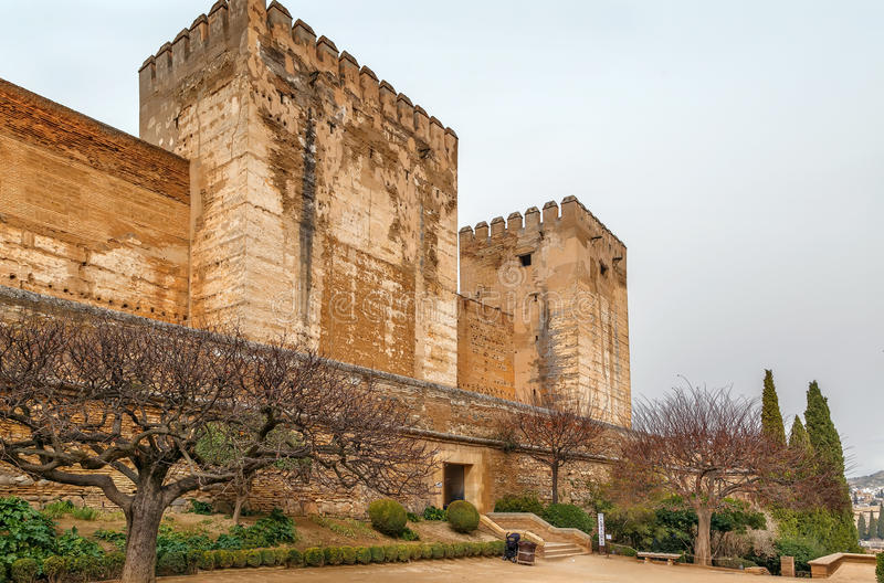 Alcazaba forteca, Granada, Hiszpania zdjęcie royalty free